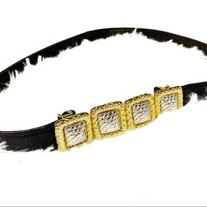 Vintage navy gold silver buckle leather belt M